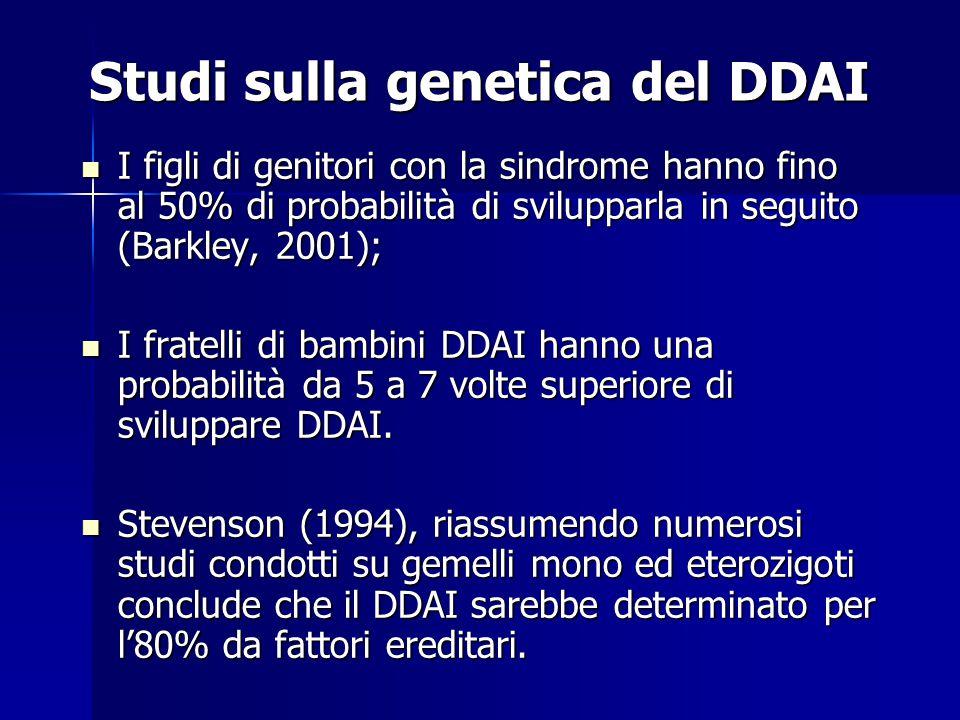 Studi sulla genetica del DDAI I figli di genitori con la sindrome hanno fino al 50% di probabilità di svilupparla in seguito (Barkley, 2001); I figli di genitori con la sindrome hanno fino al 50% di probabilità di svilupparla in seguito (Barkley, 2001); I fratelli di bambini DDAI hanno una probabilità da 5 a 7 volte superiore di sviluppare DDAI.