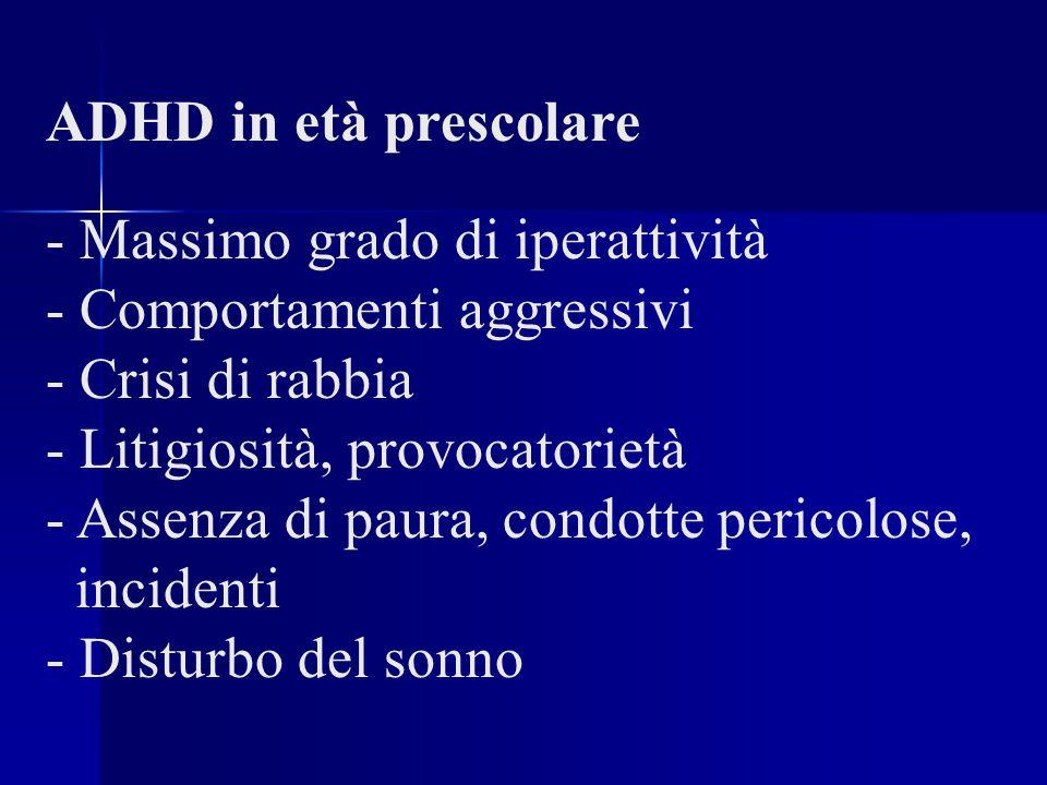 ADHD in età prescolare - Massimo grado di iperattività - Comportamenti aggressivi - Crisi di rabbia - Litigiosità, provocatorietà - Assenza di paura, condotte pericolose, incidenti - Disturbo del sonno