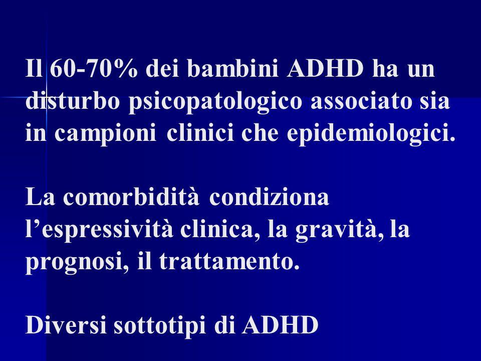 Il 60-70% dei bambini ADHD ha un disturbo psicopatologico associato sia in campioni clinici che epidemiologici.
