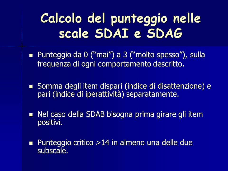 Calcolo del punteggio nelle scale SDAI e SDAG Punteggio da 0 ( mai ) a 3 ( molto spesso ), sulla frequenza di ogni comportamento descritto.