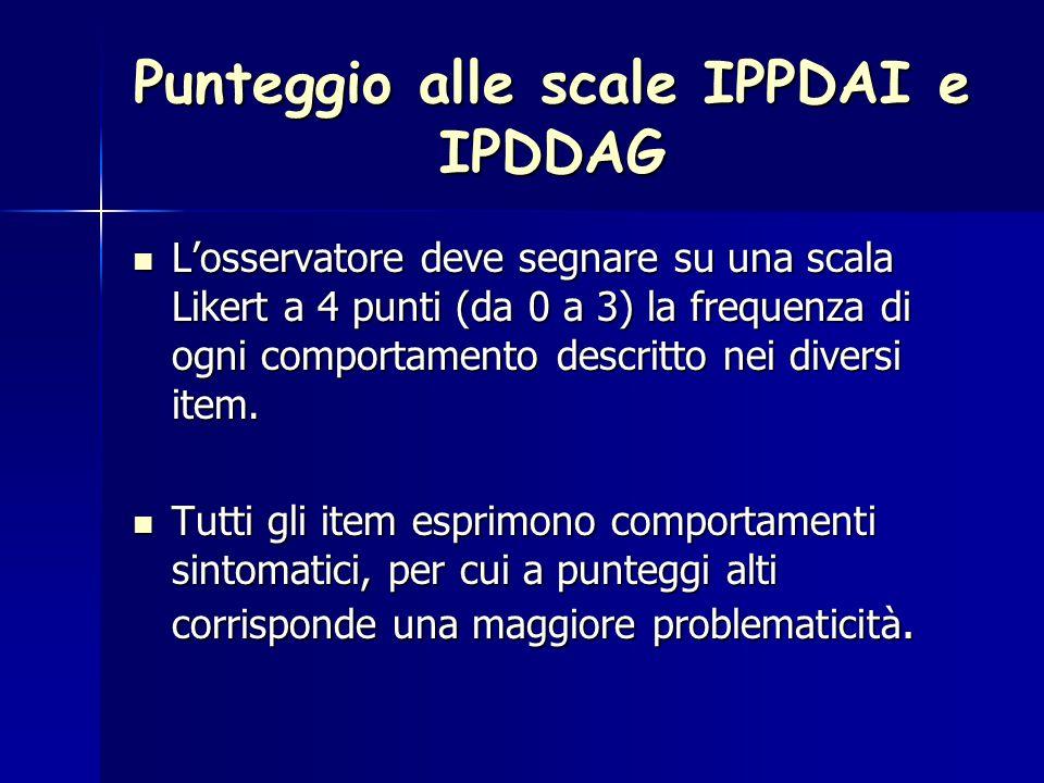 Punteggio alle scale IPPDAI e IPDDAG L'osservatore deve segnare su una scala Likert a 4 punti (da 0 a 3) la frequenza di ogni comportamento descritto nei diversi item.
