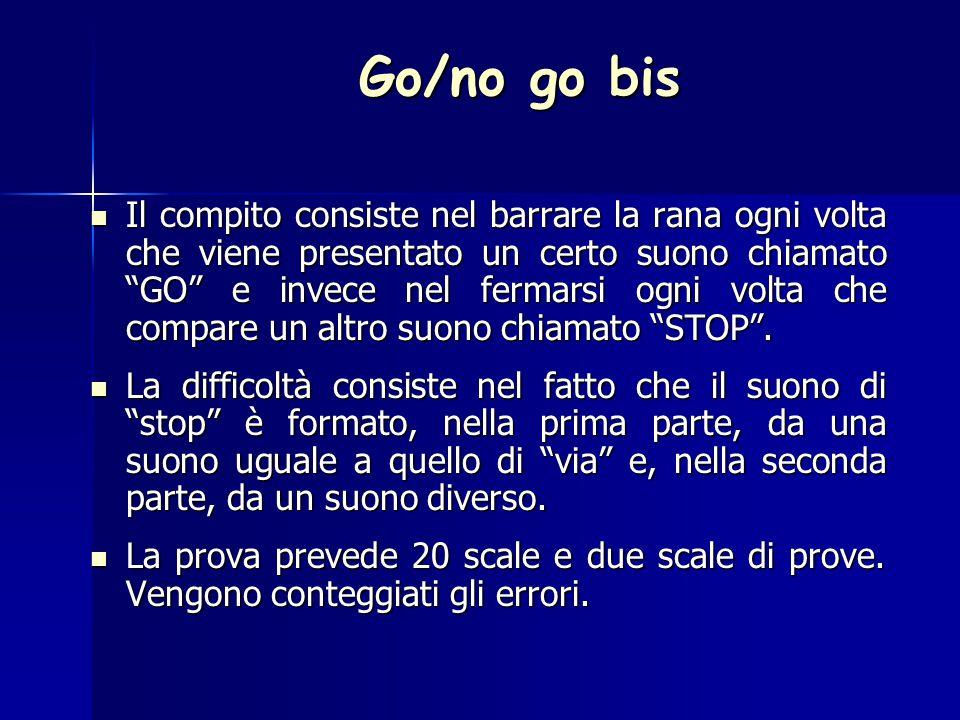 Go/no go bis Il compito consiste nel barrare la rana ogni volta che viene presentato un certo suono chiamato GO e invece nel fermarsi ogni volta che compare un altro suono chiamato STOP .