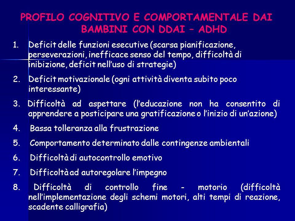 PROFILO COGNITIVO E COMPORTAMENTALE DAI BAMBINI CON DDAI – ADHD 1.Deficit delle funzioni esecutive (scarsa pianificazione, perseverazioni, inefficace