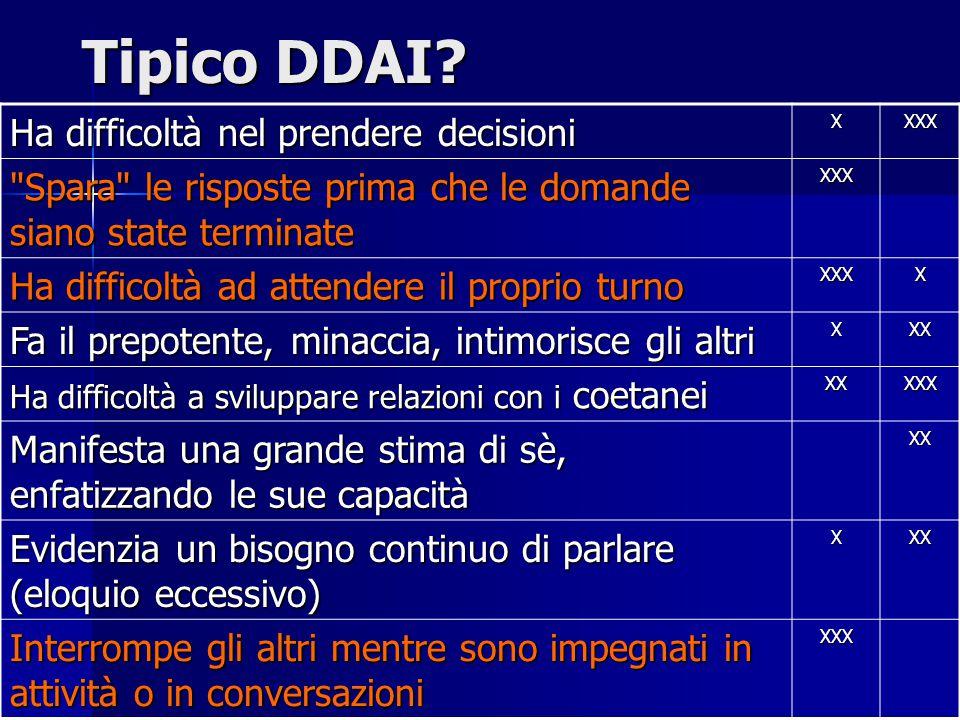 Tipico DDAI? Ha difficoltà nel prendere decisioni XXXX