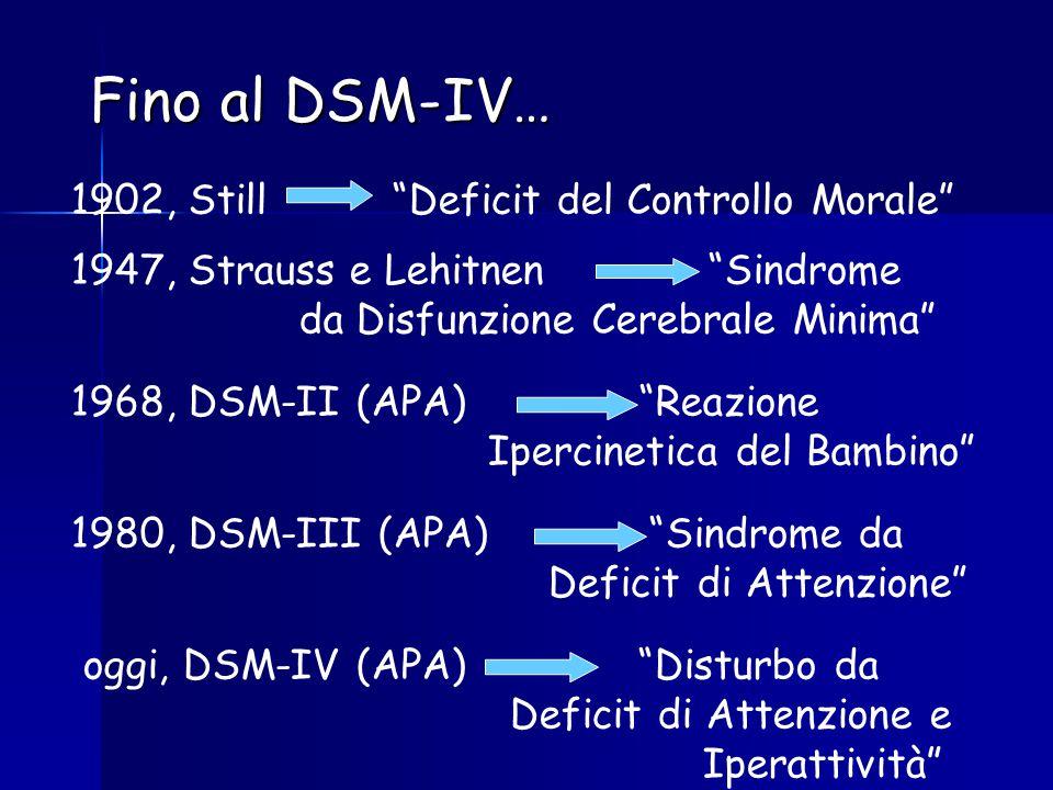 Fino al DSM-IV… 1902, Still Deficit del Controllo Morale 1947, Strauss e Lehitnen Sindrome da Disfunzione Cerebrale Minima 1968, DSM-II (APA) Reazione Ipercinetica del Bambino 1980, DSM-III (APA) Sindrome da Deficit di Attenzione oggi, DSM-IV (APA) Disturbo da Deficit di Attenzione e Iperattività