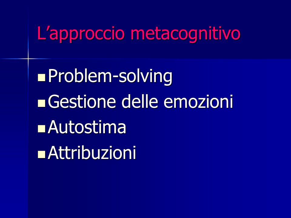 L'approccio metacognitivo Problem-solving Problem-solving Gestione delle emozioni Gestione delle emozioni Autostima Autostima Attribuzioni Attribuzion