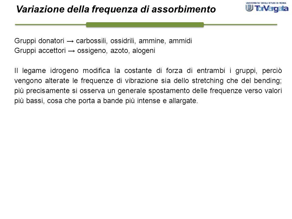 Gruppi donatori → carbossili, ossidrili, ammine, ammidi Gruppi accettori → ossigeno, azoto, alogeni Il legame idrogeno modifica la costante di forza d