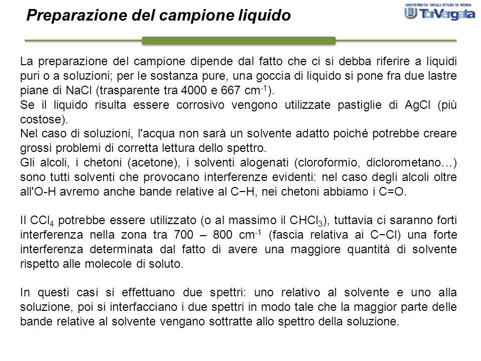 La preparazione del campione dipende dal fatto che ci si debba riferire a liquidi puri o a soluzioni; per le sostanza pure, una goccia di liquido si p