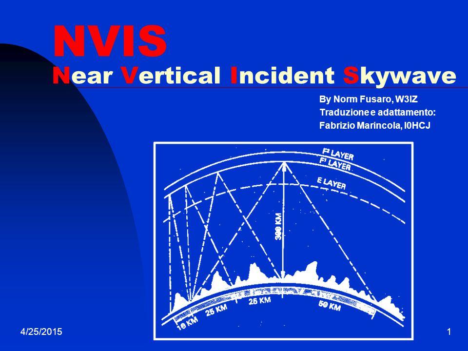 4/25/20151 NVIS Near Vertical Incident Skywave By Norm Fusaro, W3IZ Traduzione e adattamento: Fabrizio Marincola, I0HCJ