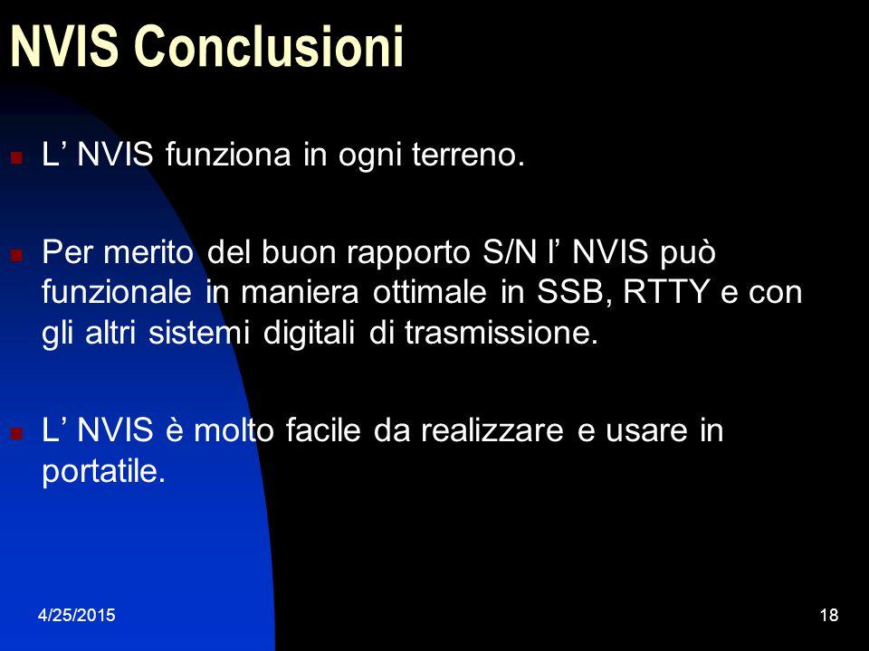 4/25/201518 NVIS Conclusioni L' NVIS funziona in ogni terreno. Per merito del buon rapporto S/N l' NVIS può funzionale in maniera ottimale in SSB, RTT