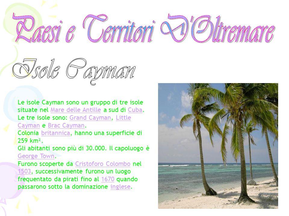 Le isole Cayman sono un gruppo di tre isole situate nel Mare delle Antille a sud di Cuba.Mare delle AntilleCuba Le tre isole sono: Grand Cayman, Littl