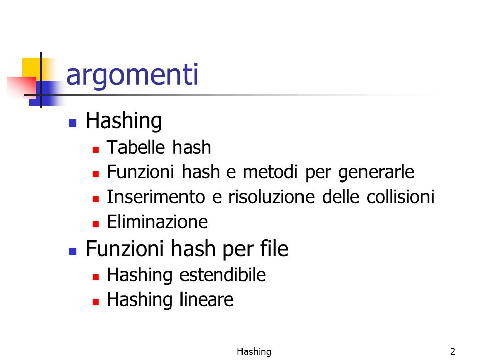 2 argomenti Hashing Tabelle hash Funzioni hash e metodi per generarle Inserimento e risoluzione delle collisioni Eliminazione Funzioni hash per file Hashing estendibile Hashing lineare