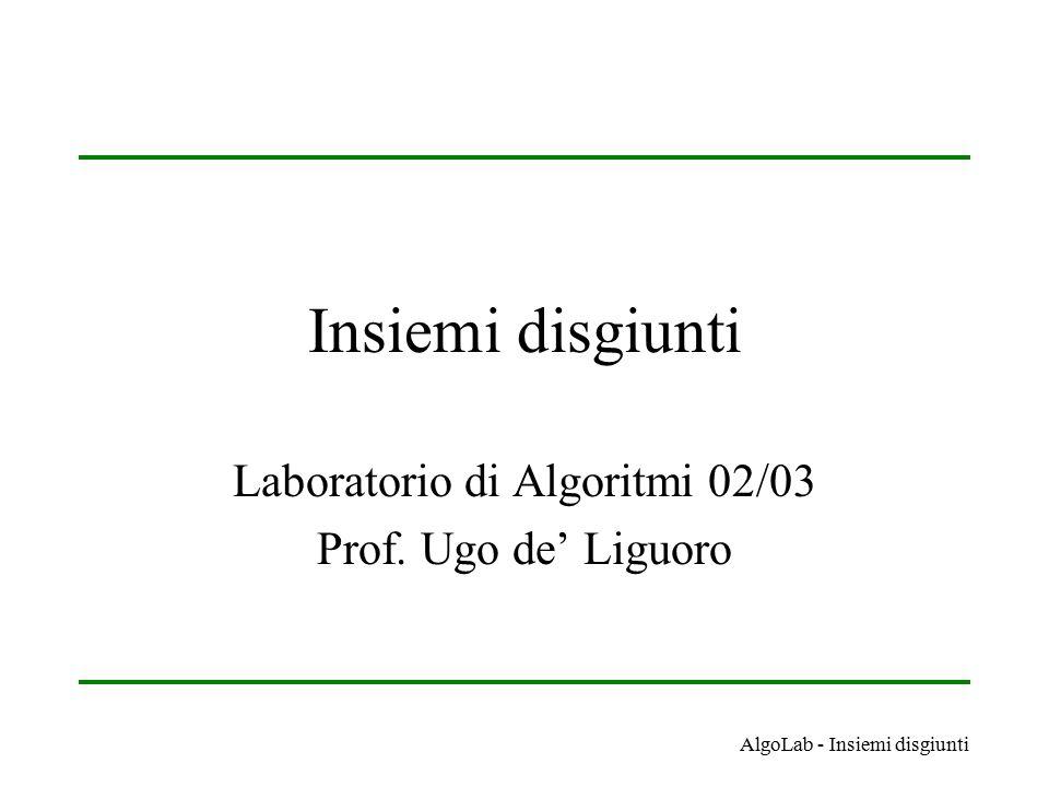 AlgoLab - Insiemi disgiunti Insiemi disgiunti Laboratorio di Algoritmi 02/03 Prof. Ugo de' Liguoro