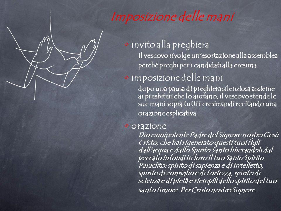 Imposizione delle mani Tanto nell invito quanto nell orazione si fanno due affermazioni: i candidati hanno già ricevuto il battesimo che ha offerto loro una «nuova nascita», su di essi si invoca l effusione dello Spirito con la specificazione della sua opera.