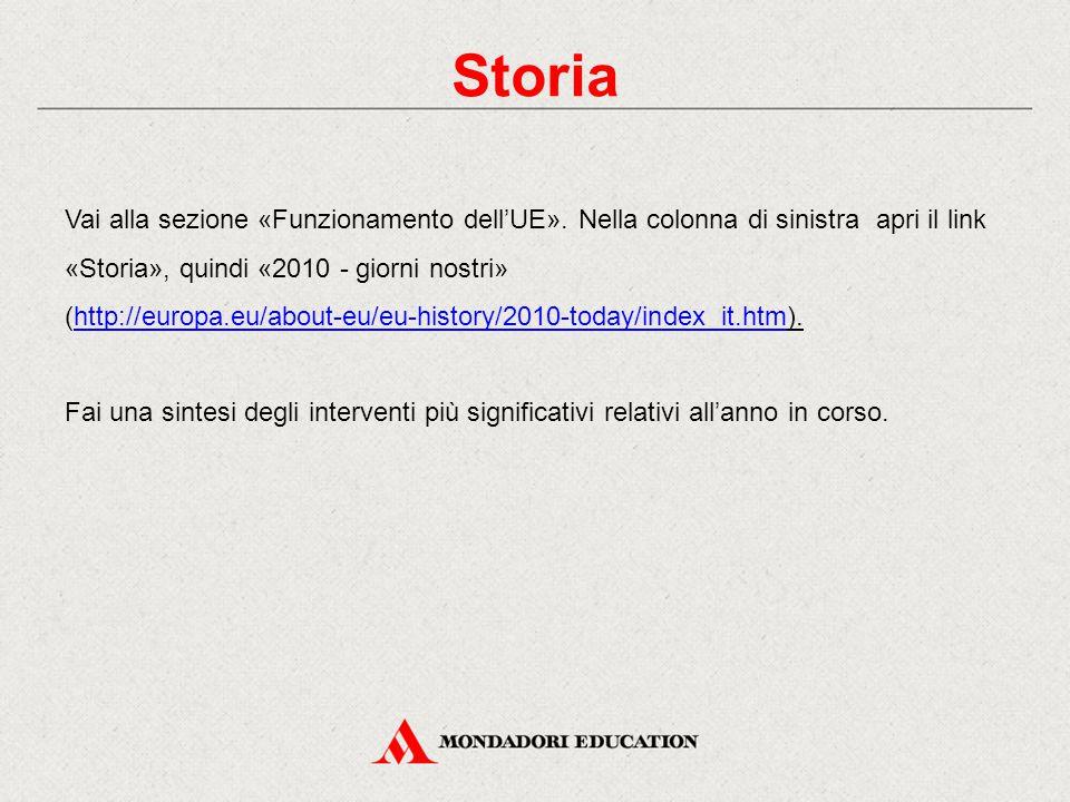 Storia Vai alla sezione «Funzionamento dell'UE». Nella colonna di sinistra apri il link «Storia», quindi «2010 - giorni nostri» (http://europa.eu/abou
