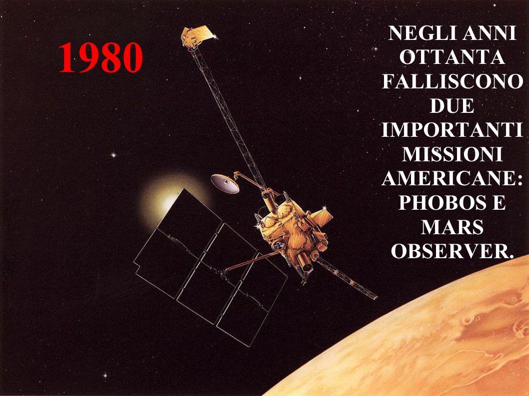 1980 NEGLI ANNI OTTANTA FALLISCONO DUE IMPORTANTI MISSIONI AMERICANE: PHOBOS E MARS OBSERVER.