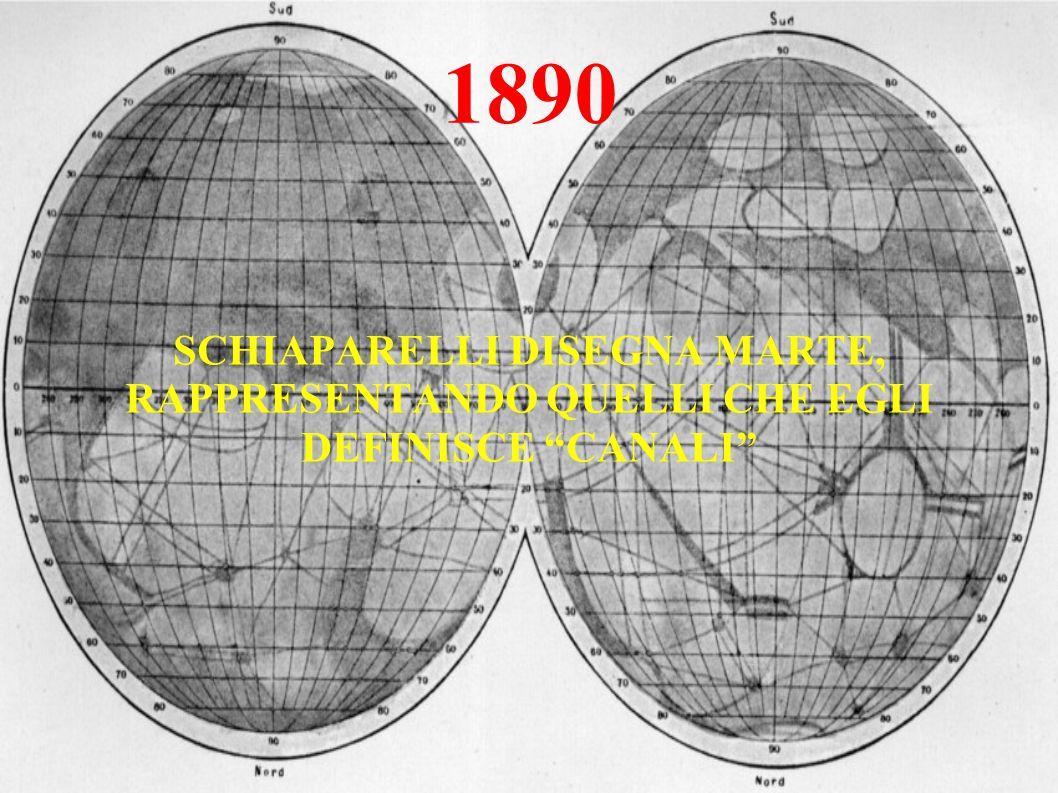 1890 SCHIAPARELLI DISEGNA MARTE, RAPPRESENTANDO QUELLI CHE EGLI DEFINISCE CANALI