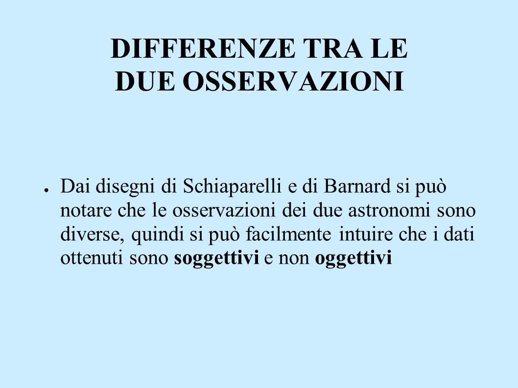 DIFFERENZE TRA LE DUE OSSERVAZIONI ● Dai disegni di Schiaparelli e di Barnard si può notare che le osservazioni dei due astronomi sono diverse, quindi si può facilmente intuire che i dati ottenuti sono soggettivi e non oggettivi