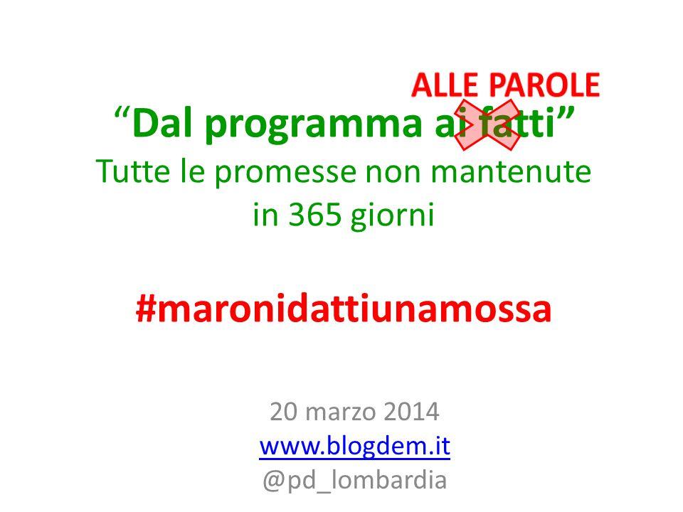 Dal programma ai fatti Tutte le promesse non mantenute in 365 giorni #maronidattiunamossa 20 marzo 2014 www.blogdem.it @pd_lombardia www.blogdem.it