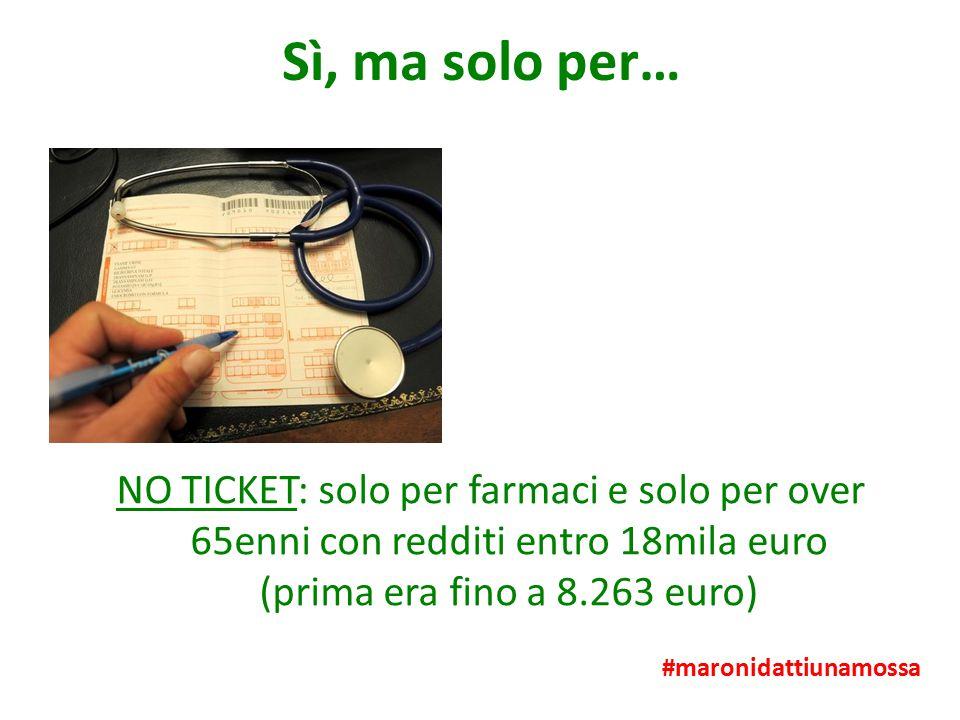 Sì, ma solo per… NO TICKET: solo per farmaci e solo per over 65enni con redditi entro 18mila euro (prima era fino a 8.263 euro) #maronidattiunamossa