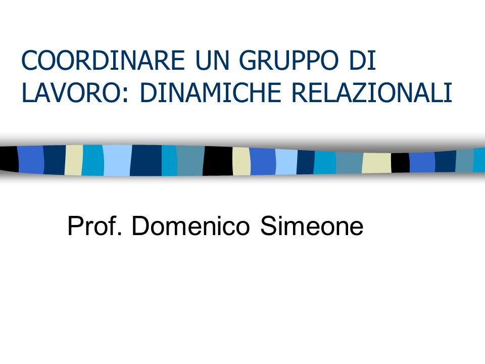 COORDINARE UN GRUPPO DI LAVORO: DINAMICHE RELAZIONALI Prof. Domenico Simeone