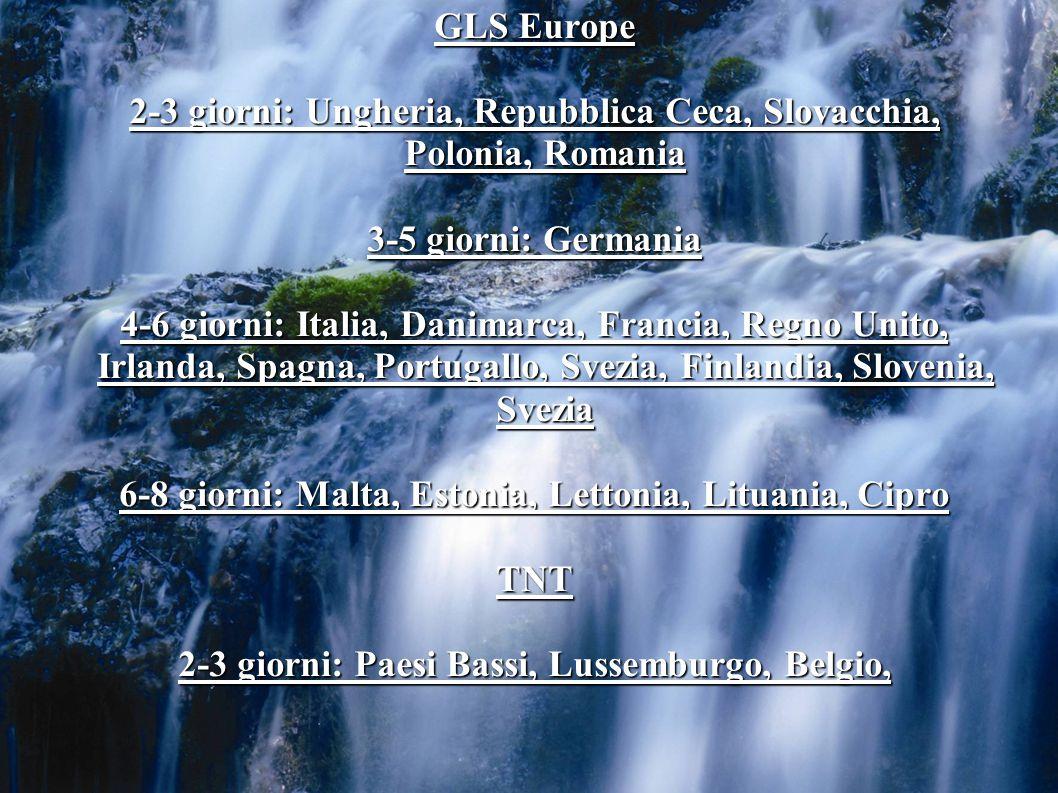GLS Europe 2-3 giorni: Ungheria, Repubblica Ceca, Slovacchia, Polonia, Romania 3-5 giorni: Germania 4-6 giorni: Italia, Danimarca, Francia, Regno Unito, Irlanda, Spagna, Portugallo, Svezia, Finlandia, Slovenia, Svezia 6-8 giorni: Malta, Estonia, Lettonia, Lituania, Cipro TNT 2-3 giorni: Paesi Bassi, Lussemburgo, Belgio,