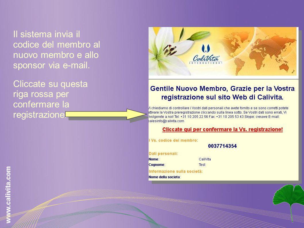 Il sistema invia il codice del membro al nuovo membro e allo sponsor via e-mail. Cliccate su questa riga rossa per confermare la registrazione.