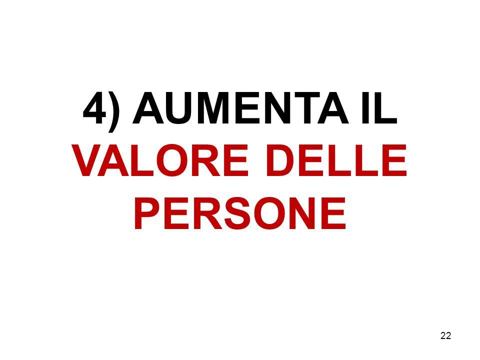 4) AUMENTA IL VALORE DELLE PERSONE 22