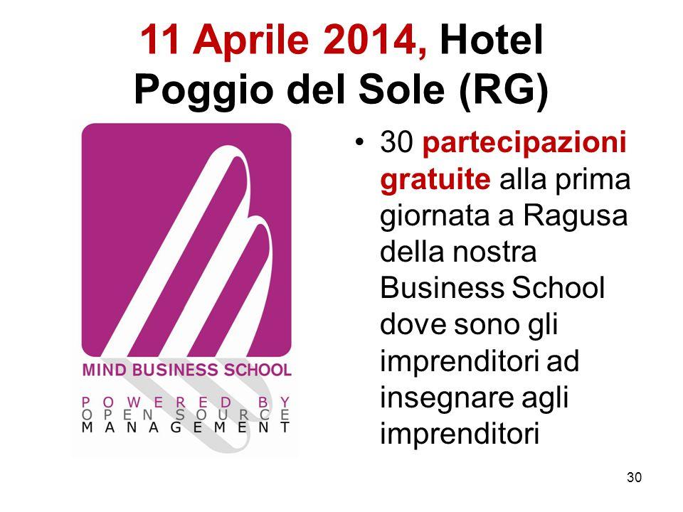 11 Aprile 2014, Hotel Poggio del Sole (RG) 30 partecipazioni gratuite alla prima giornata a Ragusa della nostra Business School dove sono gli imprenditori ad insegnare agli imprenditori 30