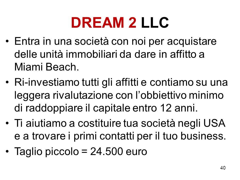 DREAM 2 LLC Entra in una società con noi per acquistare delle unità immobiliari da dare in affitto a Miami Beach.
