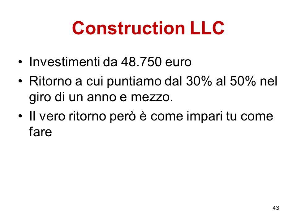 Construction LLC Investimenti da 48.750 euro Ritorno a cui puntiamo dal 30% al 50% nel giro di un anno e mezzo. Il vero ritorno però è come impari tu