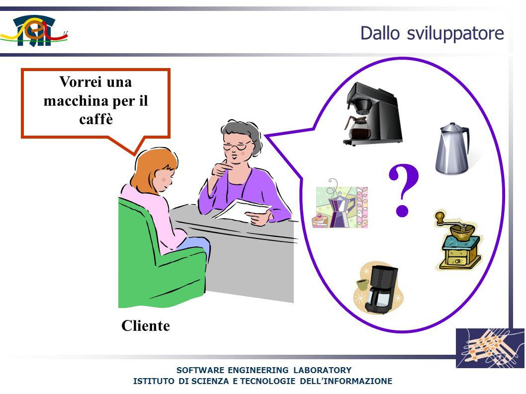 SOFTWARE ENGINEERING LABORATORY ISTITUTO DI SCIENZA E TECNOLOGIE DELL'INFORMAZIONE Dallo sviluppatore Vorrei una macchina per il caffè Cliente
