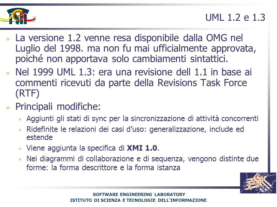 SOFTWARE ENGINEERING LABORATORY ISTITUTO DI SCIENZA E TECNOLOGIE DELL'INFORMAZIONE UML 1.2 e 1.3 » La versione 1.2 venne resa disponibile dalla OMG nel Luglio del 1998.