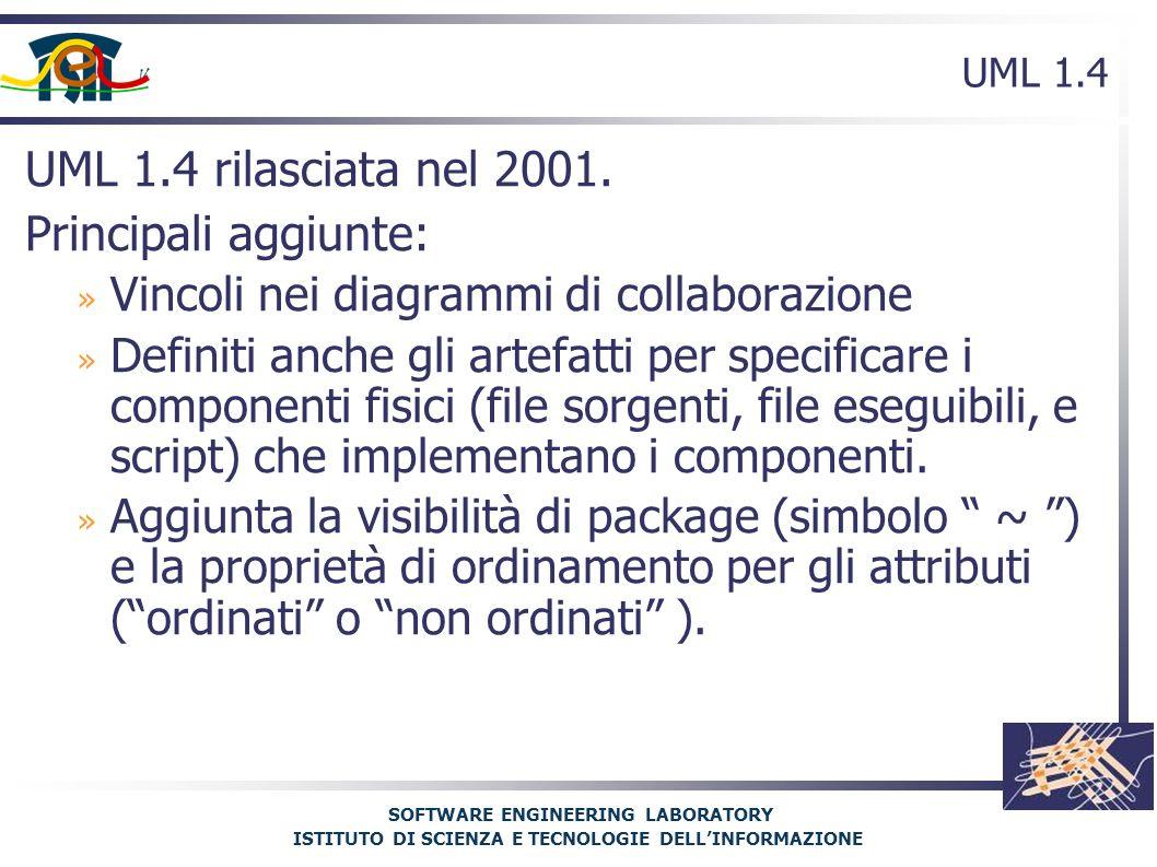 SOFTWARE ENGINEERING LABORATORY ISTITUTO DI SCIENZA E TECNOLOGIE DELL'INFORMAZIONE UML 1.4 UML 1.4 rilasciata nel 2001.