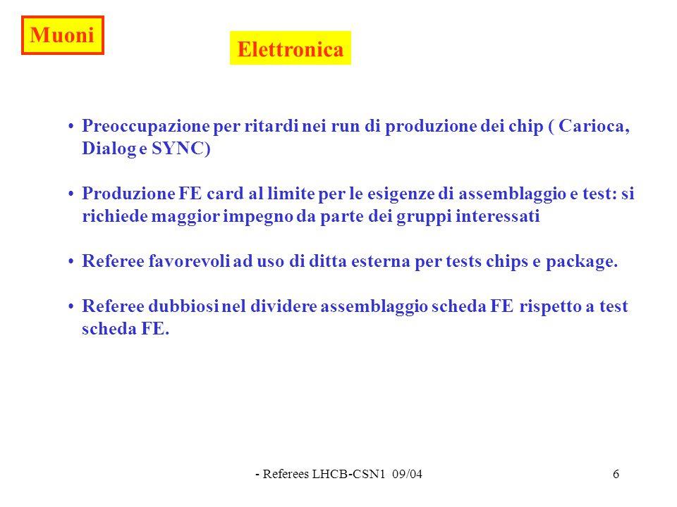 - Referees LHCB-CSN1 09/046 Elettronica Preoccupazione per ritardi nei run di produzione dei chip ( Carioca, Dialog e SYNC) Produzione FE card al limite per le esigenze di assemblaggio e test: si richiede maggior impegno da parte dei gruppi interessati Referee favorevoli ad uso di ditta esterna per tests chips e package.