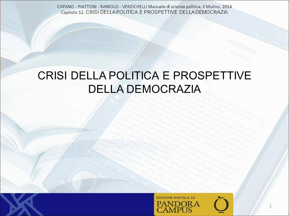 CAPANO - PIATTONI - RANIOLO - VERZICHELLI Manuale di scienza politica, Il Mulino, 2014 Capitolo 12.