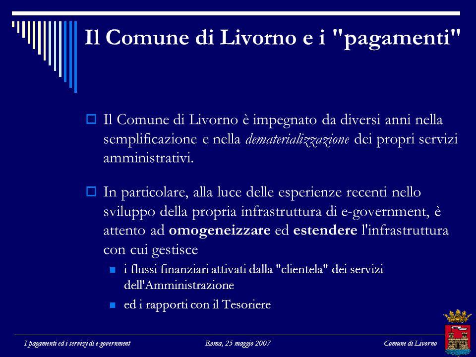 Comune di LivornoI pagamenti ed i servizi di e-governmentRoma, 25 maggio 2007 Il Comune di Livorno e i pagamenti  Il Comune di Livorno è impegnato da diversi anni nella semplificazione e nella dematerializzazione dei propri servizi amministrativi.