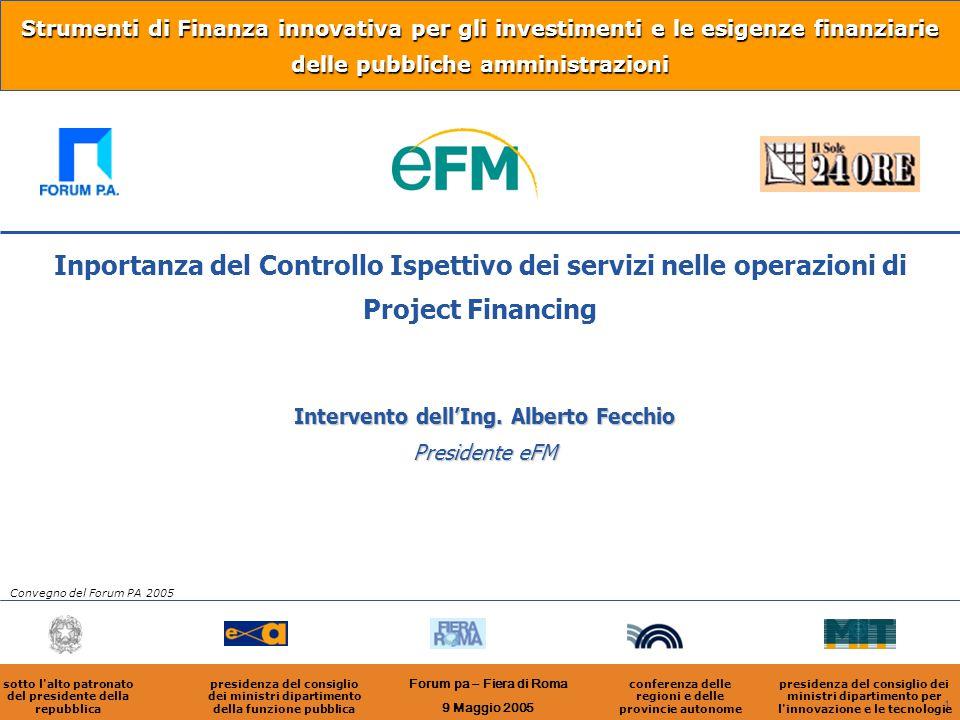 1 Strumenti di Finanza innovativa per gli investimenti e le esigenze finanziarie delle pubbliche amministrazioni Intervento dell'Ing. Alberto Fecchio