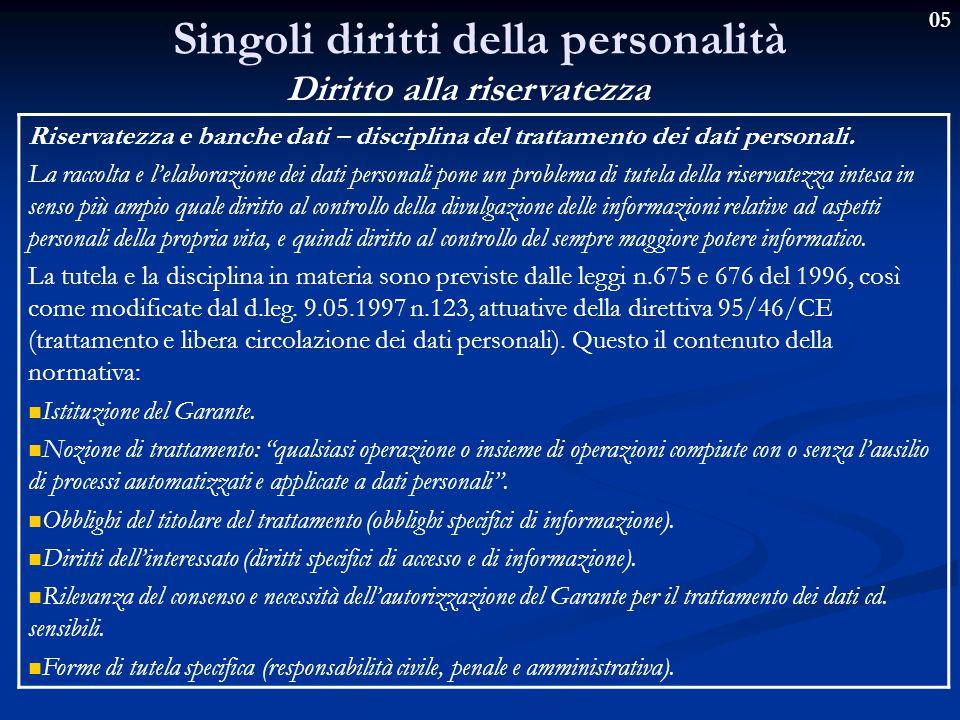 05 Singoli diritti della personalità Diritto alla riservatezza Riservatezza e banche dati – disciplina del trattamento dei dati personali.