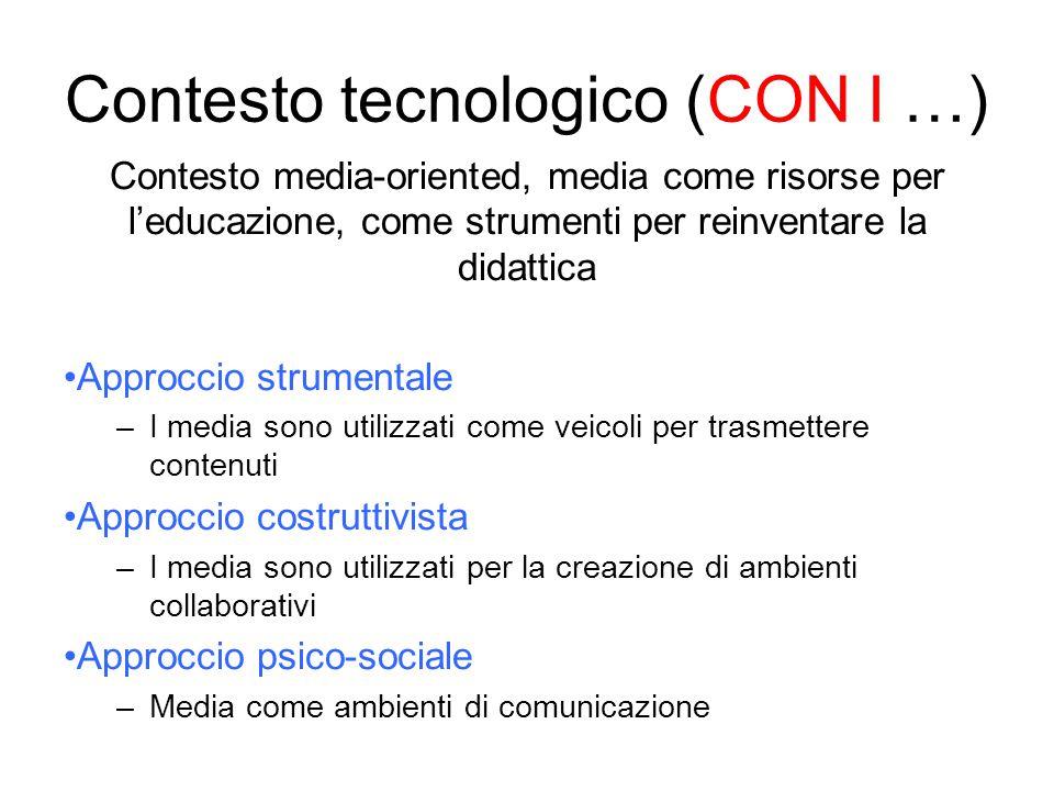 Contesto media-oriented, media come risorse per l'educazione, come strumenti per reinventare la didattica Approccio strumentale –I media sono utilizza