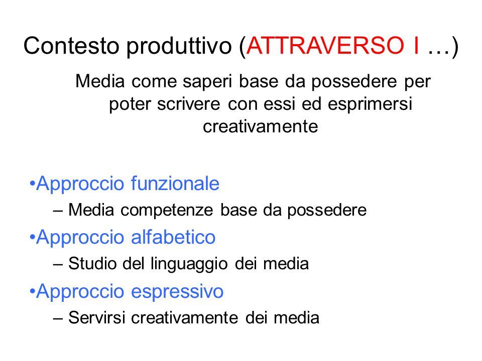 Media come saperi base da possedere per poter scrivere con essi ed esprimersi creativamente Approccio funzionale –Media competenze base da possedere A
