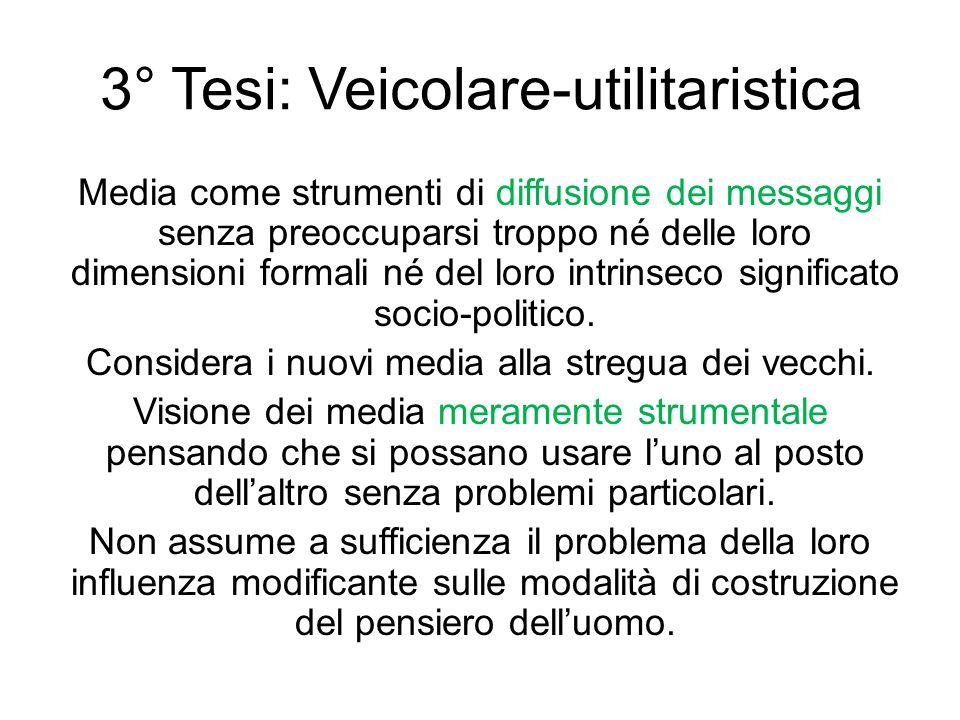 3° Tesi: Veicolare-utilitaristica Media come strumenti di diffusione dei messaggi senza preoccuparsi troppo né delle loro dimensioni formali né del lo