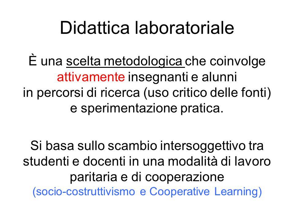Didattica laboratoriale È una scelta metodologica che coinvolge attivamente insegnanti e alunni in percorsi di ricerca (uso critico delle fonti) e spe