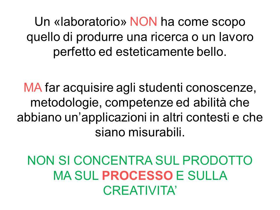 Un «laboratorio» NON ha come scopo quello di produrre una ricerca o un lavoro perfetto ed esteticamente bello. MA far acquisire agli studenti conoscen