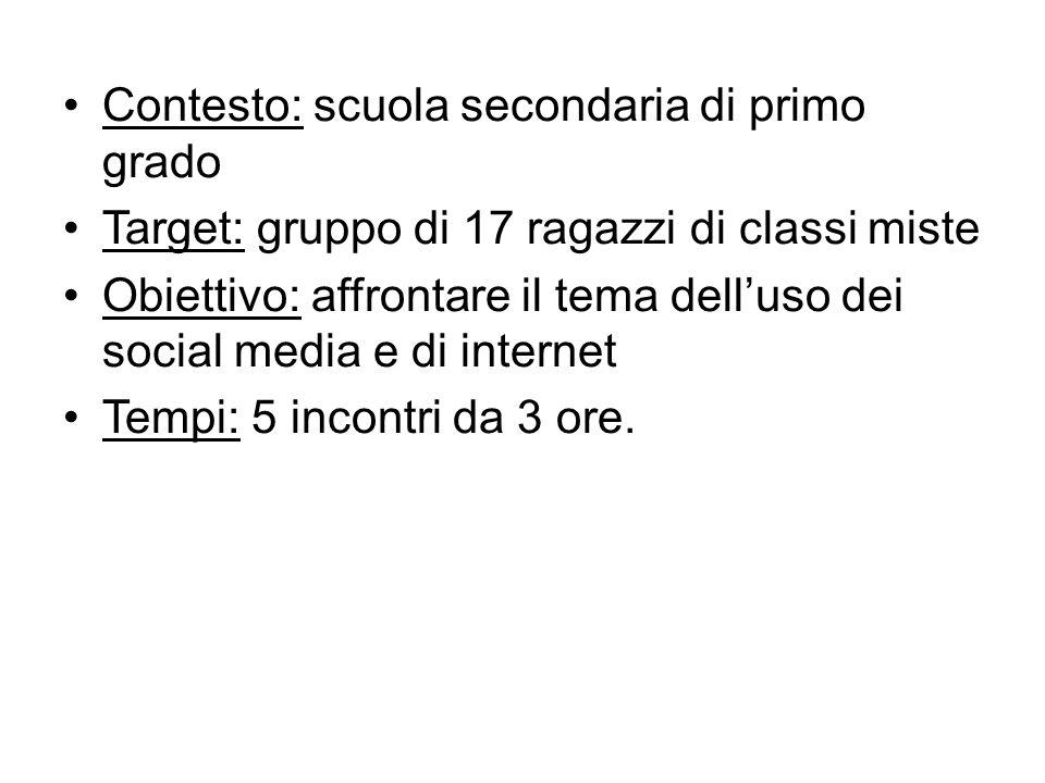 Contesto: scuola secondaria di primo grado Target: gruppo di 17 ragazzi di classi miste Obiettivo: affrontare il tema dell'uso dei social media e di i
