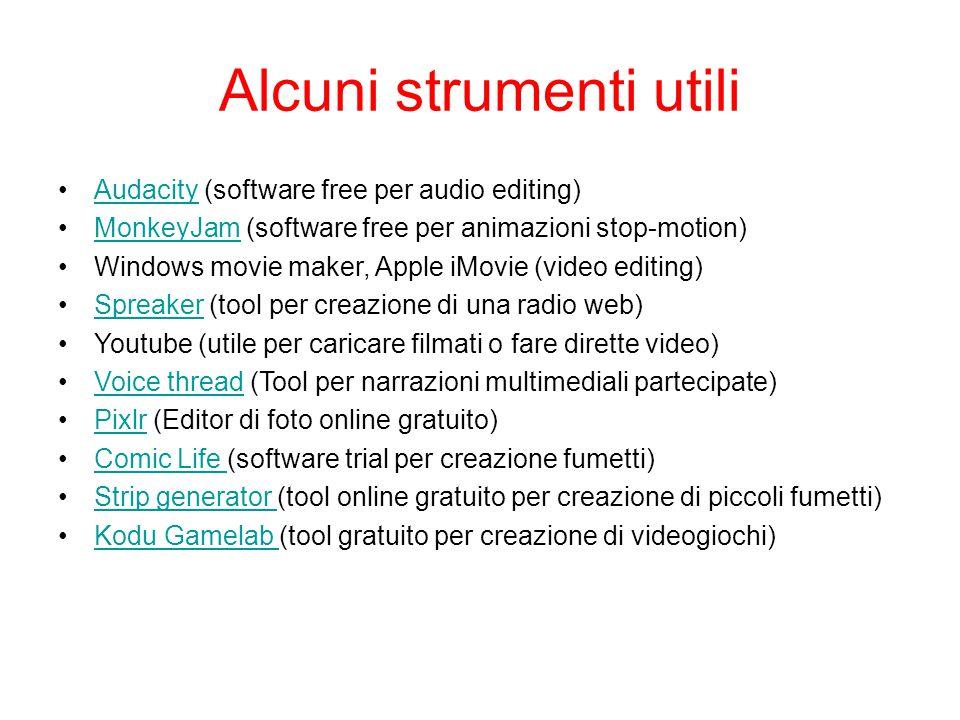 Alcuni strumenti utili Audacity (software free per audio editing)Audacity MonkeyJam (software free per animazioni stop-motion)MonkeyJam Windows movie
