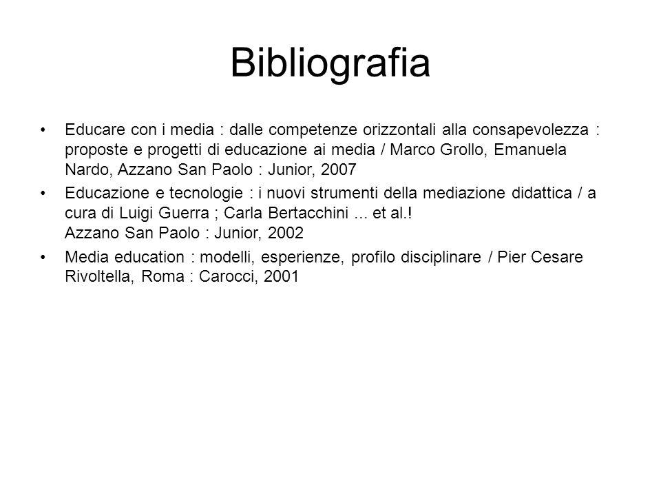 Bibliografia Educare con i media : dalle competenze orizzontali alla consapevolezza : proposte e progetti di educazione ai media / Marco Grollo, Emanu