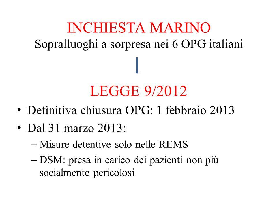 INCHIESTA MARINO Sopralluoghi a sorpresa nei 6 OPG italiani LEGGE 9/2012 Definitiva chiusura OPG: 1 febbraio 2013 Dal 31 marzo 2013: – Misure detentiv