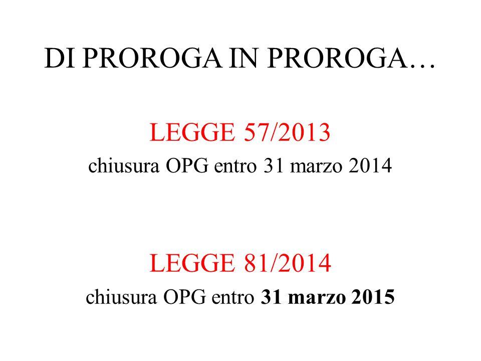 LEGGE 57/2013 chiusura OPG entro 31 marzo 2014 LEGGE 81/2014 chiusura OPG entro 31 marzo 2015 DI PROROGA IN PROROGA…