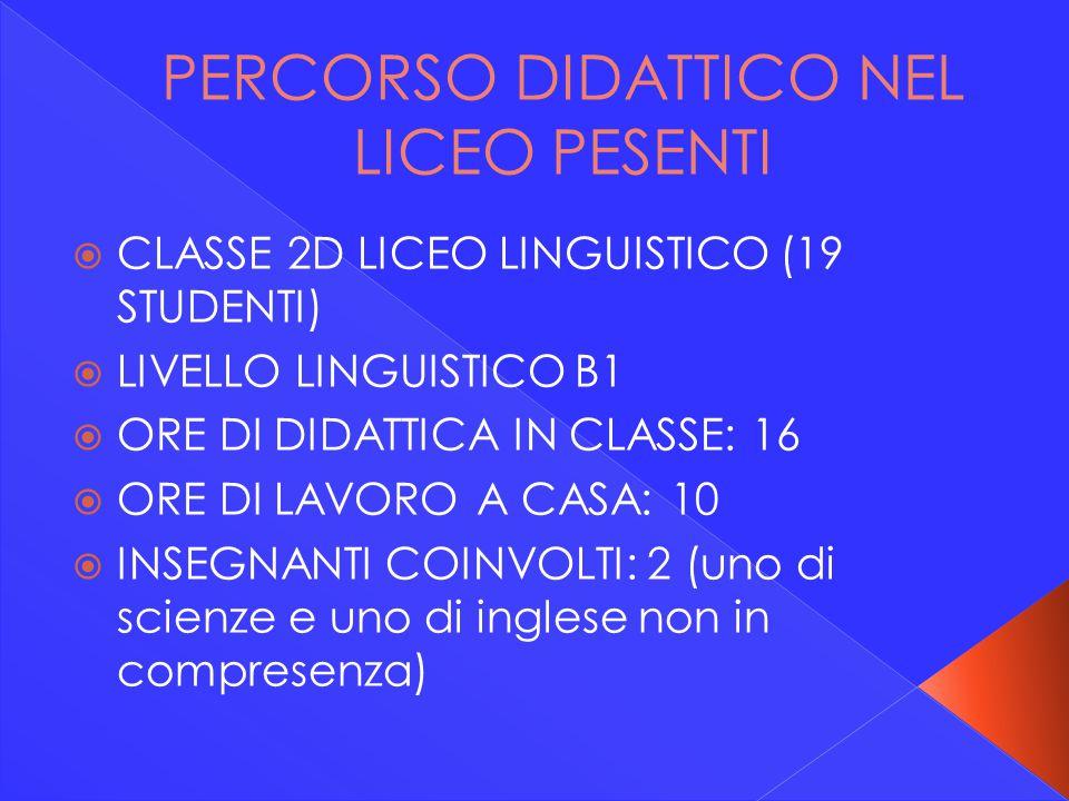 PERCORSO DIDATTICO NEL LICEO PESENTI  CLASSE 2D LICEO LINGUISTICO (19 STUDENTI)  LIVELLO LINGUISTICO B1  ORE DI DIDATTICA IN CLASSE: 16  ORE DI LA